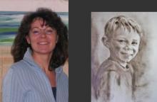 Foto der Künstlerin Sophia Beste mit gemaltem Portrait daneben